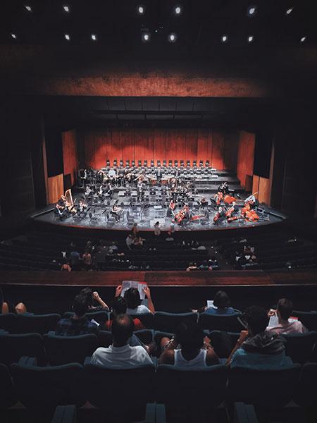 setttori dove può lavorare un tecnico del suono o fonico professionista, nella foto una sala de concerti di musica classica
